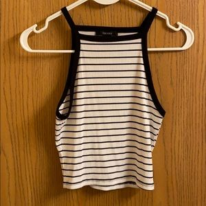 S Black & White striped Forever21 crop top